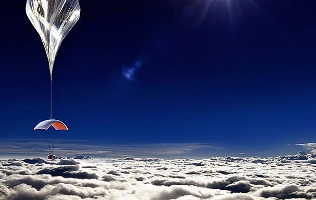 Concepção artística de cápsula erguida por balão de hélio (Foto: World View Enterprises, Inc./Reuters )