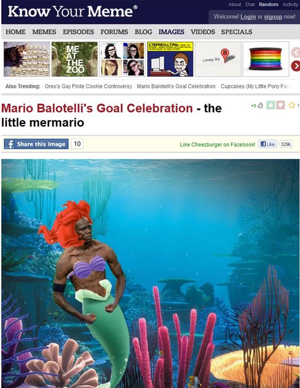 Balotelli é colocado numa fantasia da pequena sereia (Foto: Reprodução)