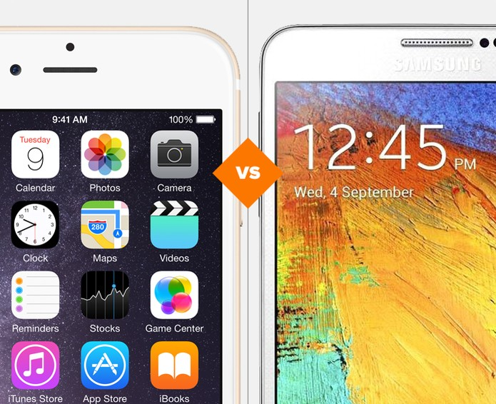iPhone 6 Plus ou Galaxy Note 4? Quem vence a batalha? (Foto: Arte/TechTudo)