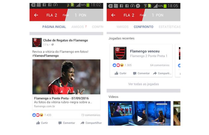 Informações sobre um jogo na ferramenta esportes do Facebook para Android (Foto: Reprodução/Marvin Costa)