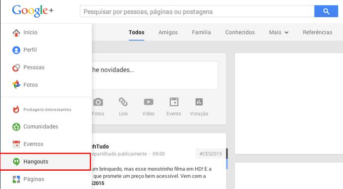 Abra o Hangouts no menu lateral do Google (Foto: Reprodução/Paulo Alves)