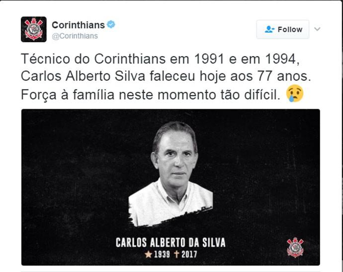 Homenagem do Corinthians para Carlos Alberto Silva (Foto: Twitter do Corinthians)