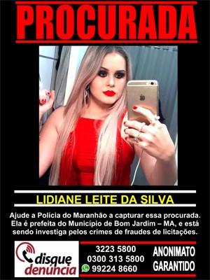 LIdiane Leite está sendo procurada por fraude em licitações (Foto: Disque Denúncia MA)