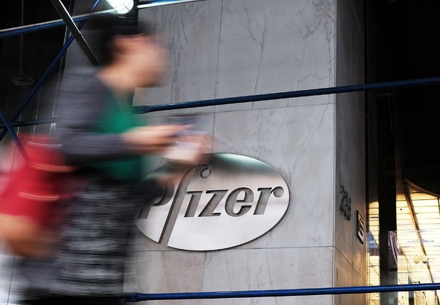 Sede da Pfizer em Nova York, nos Estados Unidos (Foto: Spencer Platt/Getty Images)