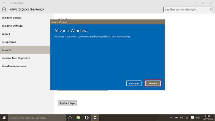 Confirme a ativação do Windows 10 Pro com sua chave das versões 7 e 8 (Foto: Reprodução/Elson de Souza)