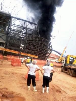 Incêndio na Arena Pantanal (Foto: Felipe de Alencar/Arquivo pessoal)