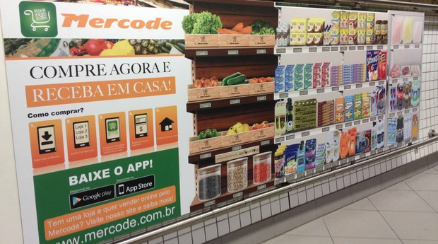 Painel do Mercode na estação Butantã do metrô (Foto: Divulgação)