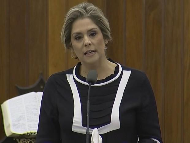 Simone Marquetto, do PMDB, prefeita de Itapetininga (Foto: Reprodução/ TV TEM)
