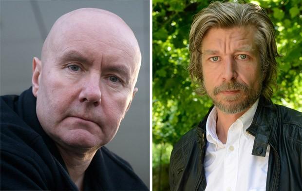 Escritor inglês Irvine Welsh, e foto de 2009 (esquerda) e o escritor norueguês Karl Ove Knausgard, em foto de 2012 (Foto: Ulf Andersen/Aurimages/AFP)