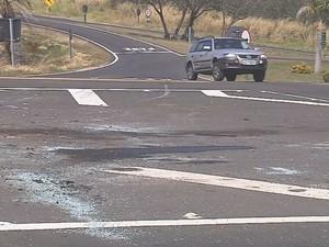 Marcas do acidente estão na pista da rodovia  (Foto: Reprodução / TV TEM)