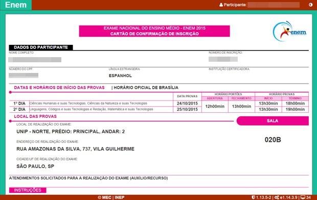 Cartão de inscrição informa onde candidato vai fazer a prova (Foto: Reprodução/Inep)