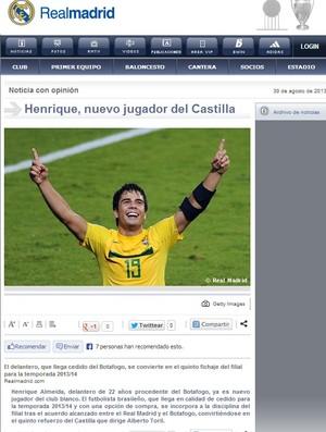 Henrique Real Madrid (Foto: Reprodução / Site Real Madrid)