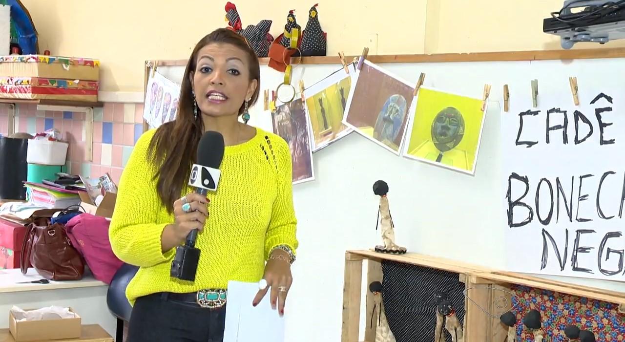 """Camila Domingues na reportagem """"Projeto Educacional Bonecas Negras"""" (Foto: Divulgação/ TV Gazeta)"""