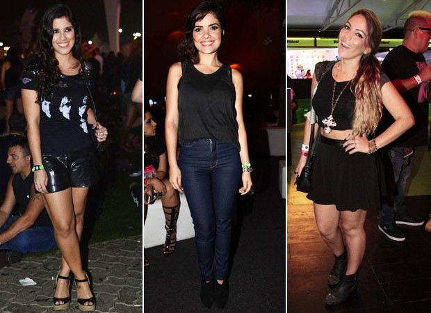Camila Camargo, Vanessa Giácomo e Anamara - Enquete Estilo Rock in Rio dia 22 (Foto: André Muzell / AgNews - Iwi Onodera/EGO - Isac Luz / EGO)