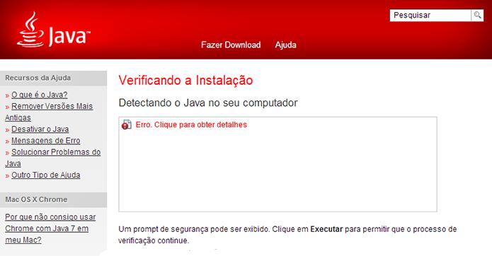 Verifique se o Java está instalado corretamente no PC (Foto: Reprodução/Paulo Alves)