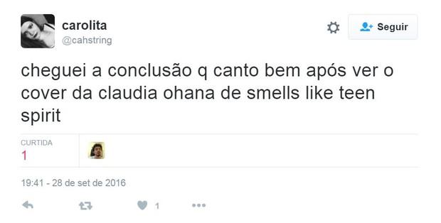 Internautas criticam interpretação de Claudia Ohana para clássico do Nirvana (Foto: Reprodução/Twitter)