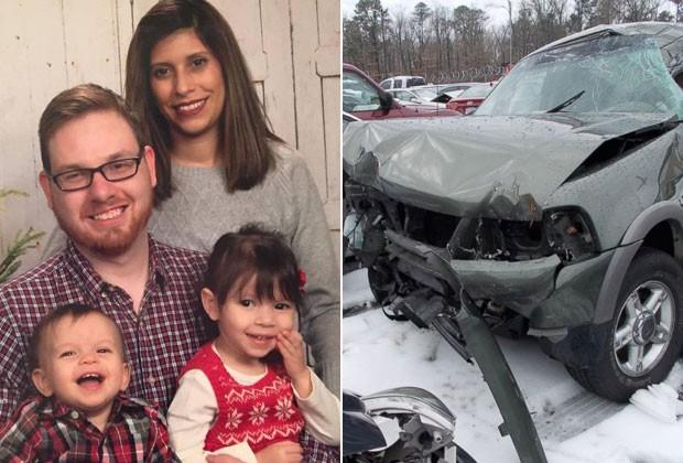 Craig Tyler com a mulher Natali Castellanos-Tyler e dois dos filhos do casal; ao lado, o carro que ela dirigia no dia do acidente (Foto: Reprodução / Facebook e ABC News)