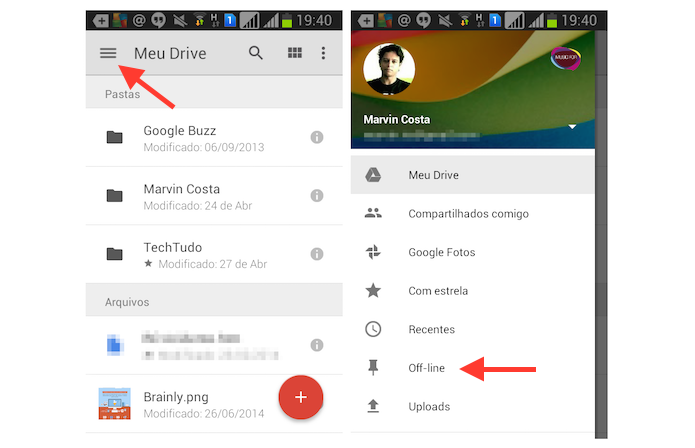 Acessando arquivos offline no Google Drive para Android (Foto: Reprodução/Marvin Costa)