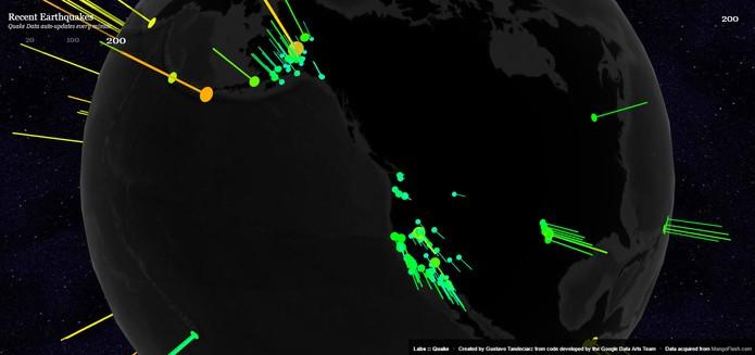 Mapa mostra tremores e terremotos no globo terrestre (Foto: Reprodução/Barbara Mannara)