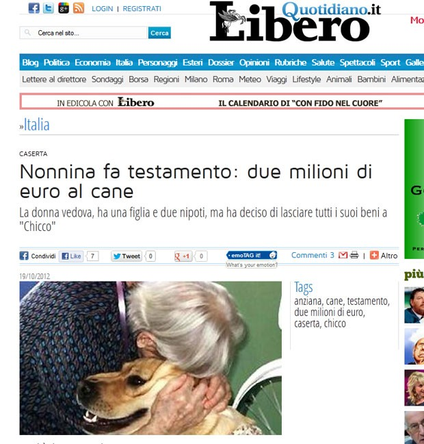 Italiana deixou dois milhões de euros para seu cachorro de estimação (Foto: Reprodução)