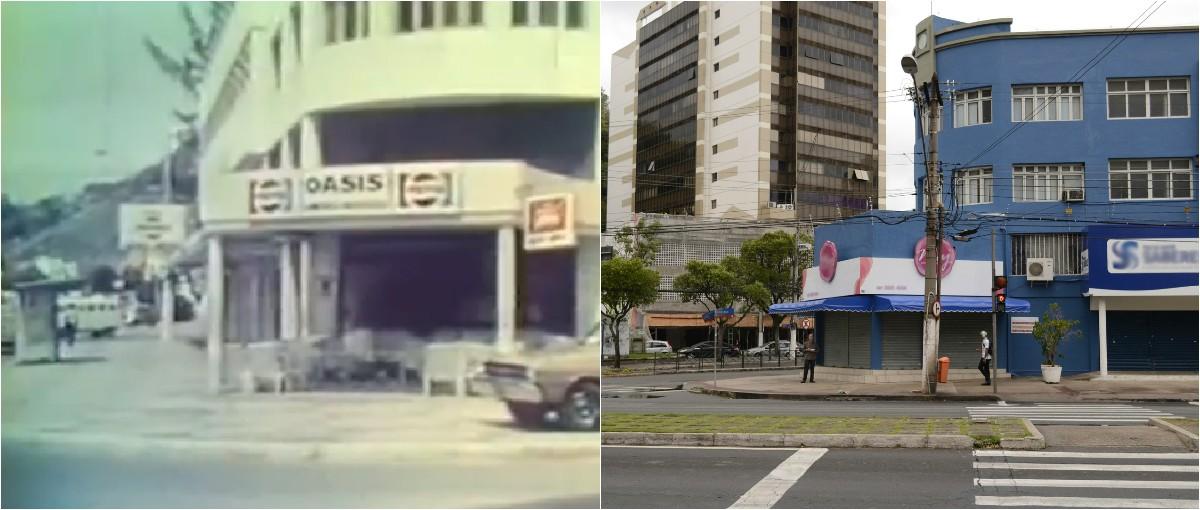 Esquina entre a rua Ferreira Coelho e César Helal, em Vitória. Imagens de 1977 e 2015 (Foto: Montagem/ G1)