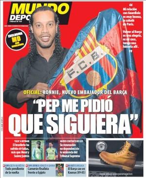 Ronaldinho Gaúcho Barcelona capa jornal (Foto: Reprodução)