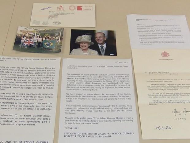 Cópia da carta enviada pelos alunos e a resposta da rainha  (Foto: Reprodução / TV TEM)
