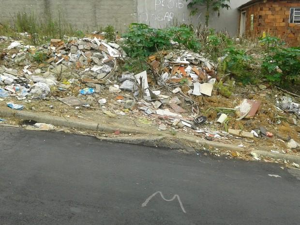 Terreno com entulhos (Foto: Julia Moraes/VC no G1)