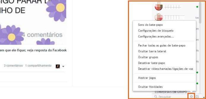 Usuário pode usar a barra lateral de chat no Facebook Flat (Foto: Reprodução/Barbara Mannara)