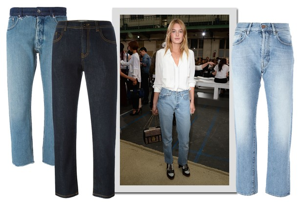 Camille Rowe e jeans, MM¨Maison Margiela, R$ 2.184; Fendi, R$ 3.280; Aries, R$ 2.540 (Foto: Getty Images e Farfetch/Divulgação)