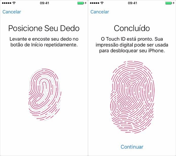 Configuração do Touch ID (Foto: Reprodução/Helito Bijora)