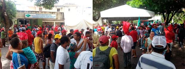 Integrantes do MST ocuparam a sede do Incra, em Natal, na manhã desta quinta-feira (Foto: Kleber Teixeira/Inter TV Cabugi)