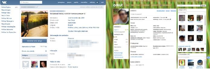 Perfis das redes sociais VK e Orkut (Foto: Reprodução/Lívia Dâmaso)