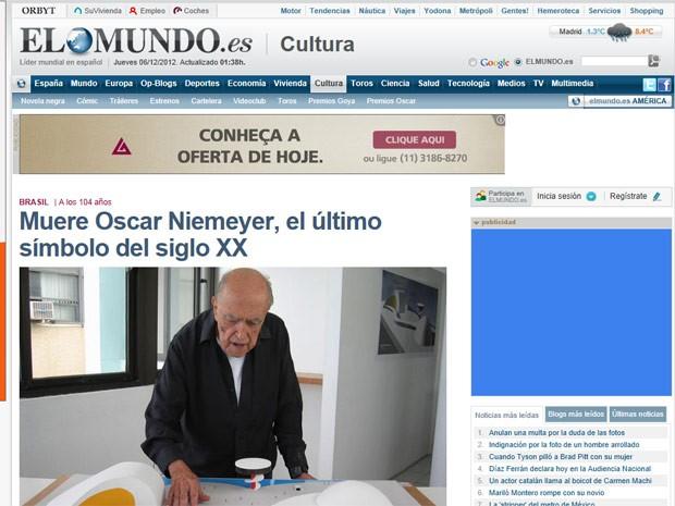 O espanhol 'El Mundo' classificou Niemeyer como 'último símbolo do século XX' e qualificou de admirável o fato de ele seguir trabalhando quase até o fim da vida (Foto: Reprodução)