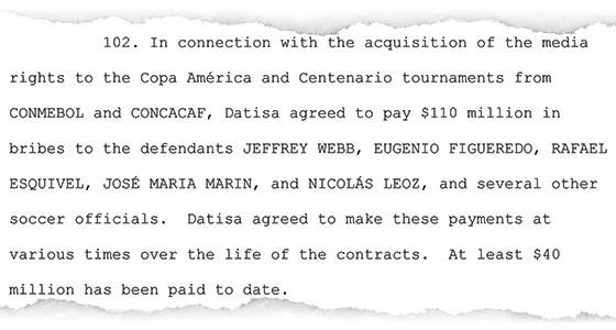 Trecho da denúncia do Ministério Público dos EUA afirma que foram pagos US$ 110 milhões (cerca de R$ 350 milhões) por contrato da Copa América (Foto: Reprodução)
