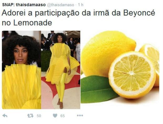 Solange Knowles usou um vestido bizarro e também virou meme (Foto: Reprodução/Twitter)