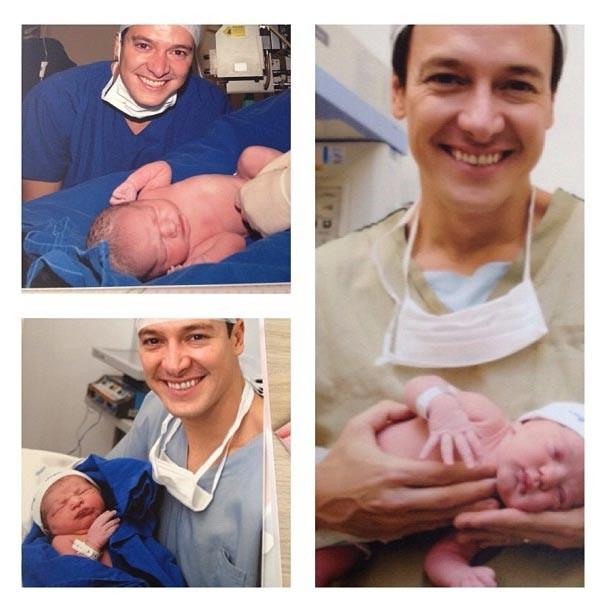 Rodrigo nos partos de suas três filhas Clara, Maria e Helena (Foto: Reprodução/Instagram)