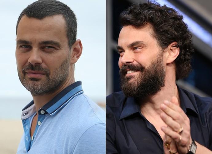 Mudança de visual: Carmo Dalla Vecchia em fevereiro de 2016, nos bastidores de A Regra do Jogo, e em setembro do mesmo ano, no 'Programa do Jô' (Foto: Fabiano Battaglin / Gshow / TV Globo)