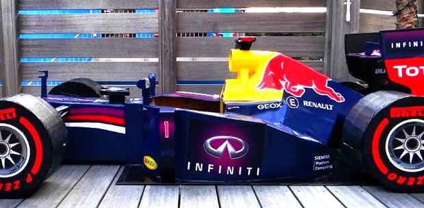 carro de F1 feito de papelão (Foto: Reprodução)
