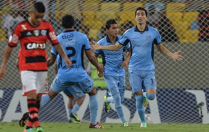 Ricardo Pedriel gol, Flamengo x Bolivar (Foto: AFP)