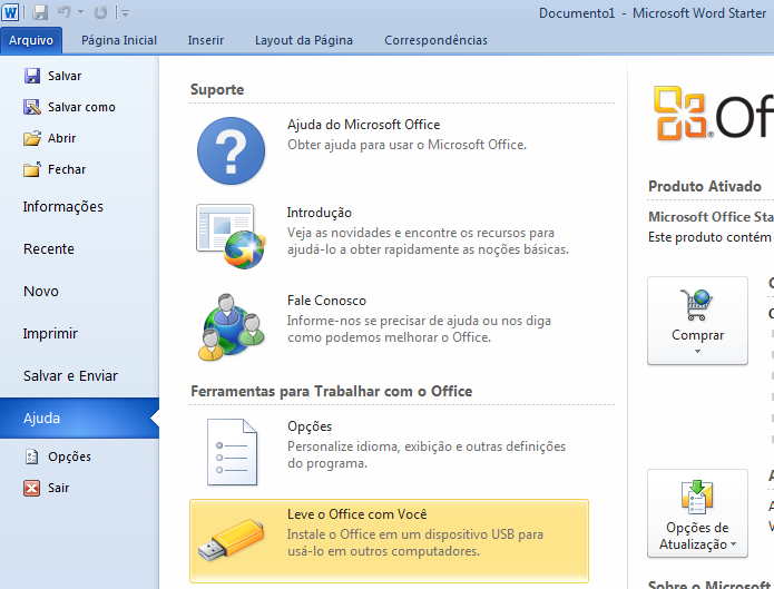 Acessando o recurso Microsoft Office Starter Portátil no Word (Foto: Reprodução/Edivaldo Brito)
