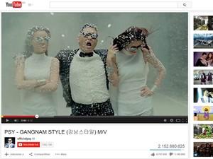 Clipe de 'Gangnam Style' no YouTube ultrapassou 2,1 bilhões de visualizações e 'quebrou' contador do site (Foto: Reprodução/YouTube)