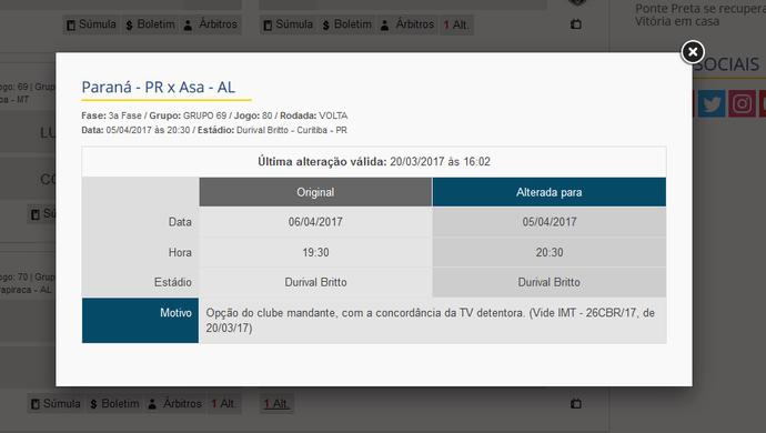 CBF divulgou a mudança da data e horário da partida entre Paraná e ASA (Foto: Reprodução / CBF)