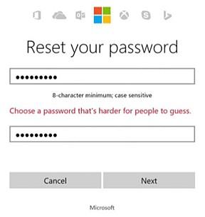 Usuário é impedido de cadastrar senha fácil em contas da Microsoft (Foto: Reprodução/Microsoft)