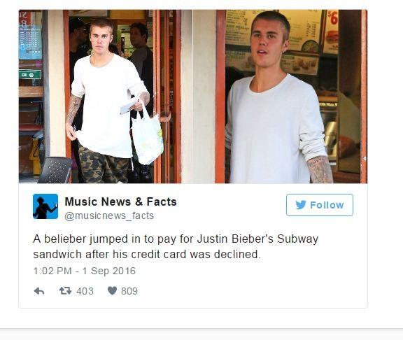 Justin Bieber saindo do Subway, em Los Angeles (Foto: Reprodução/Twitter)
