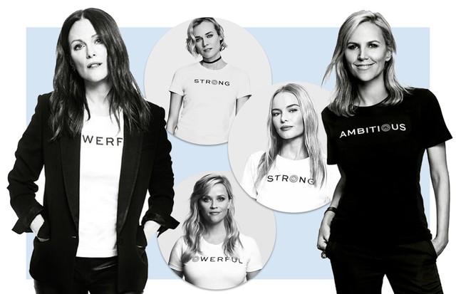 Julianne Moore, Diane Kruger, Kate Bosworth, Reese Whiterspoon e Tory Burch vestem a camisa da campanha #EmbraceAmbition (Foto: Reprodução)