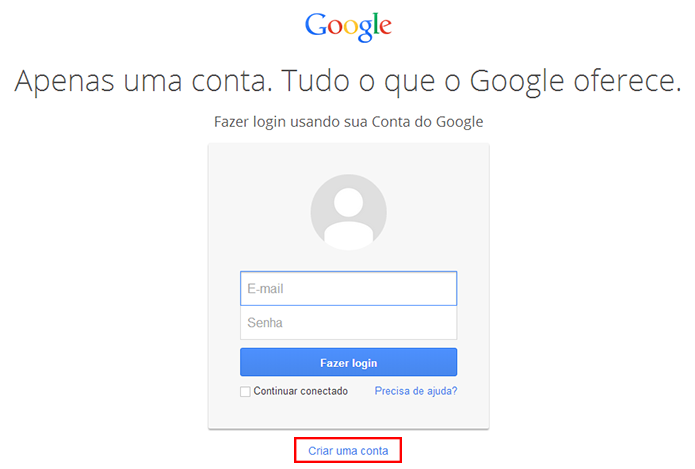 Escolha o botão mais abaixo para criar uma nova conta (Foto: Reprodução/Paulo Alves)