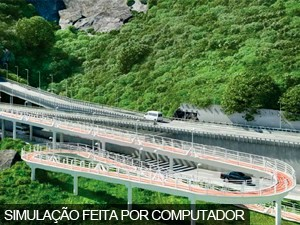Ciclovia sobe em espiral para encontrar com a pista (Foto: Foto: Prefeitura do Rio/Divulgação)