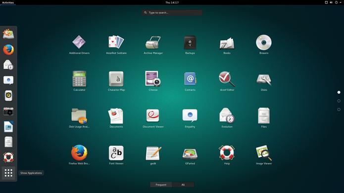 Em termos de funcionalidades, grande diferença do Ubuntu para o Ubuntu GNOME é a ausência do dash (Foto: Divulgação/Canonical)