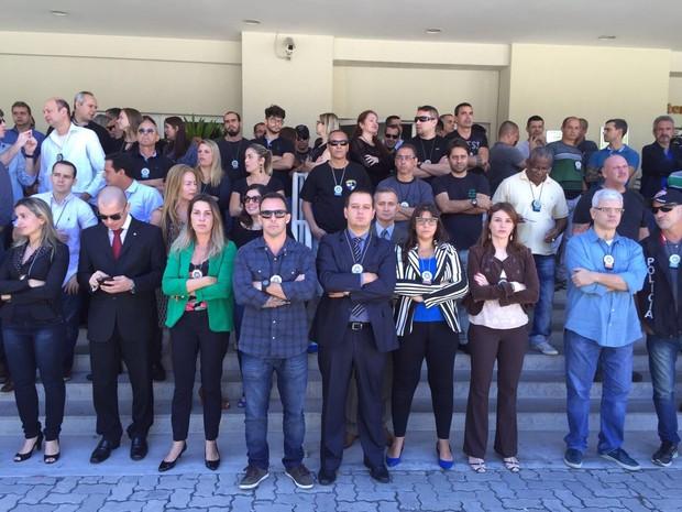 Delegados e agentes fizeram paralisação no RJ nesta segunda-feira (Foto: Divulgação)